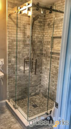 Take a look at this amazing frameless sliding corner unit. Just because you are limited on space, doesn't mean you need to sacrifice style! Frameless Sliding Shower Doors, Corner Unit, Show Photos, The Unit, Space, Amazing, Top, Design, Floor Space