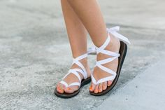 Strappy White Ribbon Sandals from Sseko Designs // Image via Polka Dots & Sailor Stripes