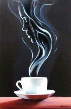 illusion art step by step ; Illusion Kunst, Illusion Art, Illusion Paintings, Coffee Drawing, Coffee Art, Coffee Cup Art, Coffee Time, Coffee Shop, Pencil Art Drawings