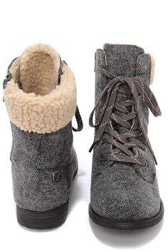 Warm Grey Herringbone Lace-Up Boots