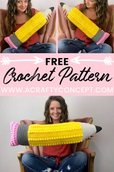 How To Crochet An Awesome Pencil Pillow- Free Pattern - A beginner-friendly, step by step guide showing how to make an adorable crochet pencil pillow with both photo and video instructions. Crochet Home, Love Crochet, Crochet Gifts, Knit Crochet, Crochet Motif, Beginner Knitting Patterns, Modern Crochet Patterns, Crochet Pillow, Yarn Inspiration