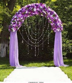 Royal Purple Wedding Arch. What a beautiful wedding arch decoration idea! Love it!