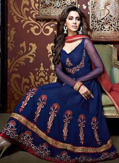Modish Blue Georgette Anarkali Suit, Product Code : 3879, shop http://www.sareesaga.com/modish-blue-georgette-anarkali-suit-3879,  Email :support@sareesaga.com, What's App or Call : +91-9825192886