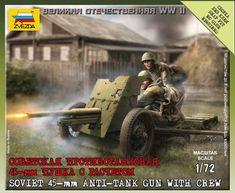 Советская противотанковая 45мм пушка с расчетом (1:72)
