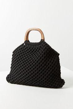 Small Wood Handle Macrame Tote Bag (under $20)