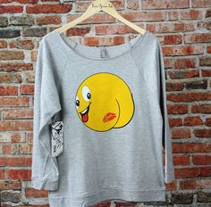 Butt Kiss Emoji Off The Shoulder Shirt. Emoji Slouchy Tee. Funny T-Shirt. Emoji Shirt. Wide Neck Raglan Shirt. Birthday Gift by FreeSpiritInk on Etsy