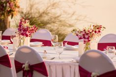 Fuschia and white orchids decorate our wedding table. Wedding Table, Our Wedding, White Orchids, Beautiful Islands, Unique Weddings, Florals, Rustic, Traditional, Table Decorations