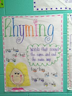Life in First Grade: Pigeons, Skunks, Halloween, and Anchor Charts charts kindergarten phonics Ela Anchor Charts, Kindergarten Anchor Charts, Reading Anchor Charts, Anchor Charts First Grade, Rhyming Activities, Kindergarten Literacy, Rhyming Preschool, Literacy Skills, Early Literacy