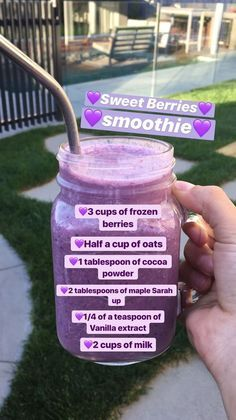 """Sweet Berries smoothie Yes I know it says """"Maple sarah up"""" it auto-corrected. it is supposed to say maple syrup. Fruit Smoothie Recipes, Apple Smoothies, Yummy Smoothies, Smoothie Drinks, Protein Smoothies, Smoothie Glass, Smoothie Cup, Lunch Smoothie, Starbucks Recipes"""