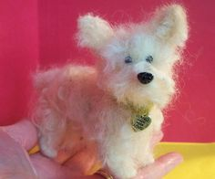 Terrier Dog Felted Wool Sculpture/Ornament by WhimsicalWoolies, $75.00