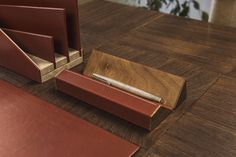 A stylish detail to embellish your desk and keep your best pens in order. Structure in solid precious wood Handmade leather covering. #domuscollection #woodenpenholder #desk #stationery #leather #foglizzoleathergoods