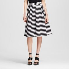 Women's Striped Flare Skirt Black - Vanity Room