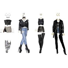 Kpop Fashion Outfits, Stage Outfits, Edgy Outfits, Dance Outfits, Cute Casual Outfits, Womens Fashion, Mode Kpop, Fashion Design Sketches, Polyvore Outfits