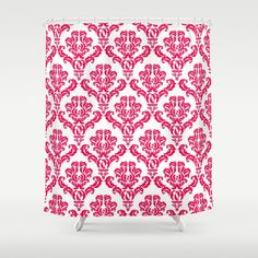 DAMASK PINK RED Shower Curtain#red #white #classic #pattern #vintage #newromance #shabbychic #pink #showercurtain #bathroom