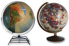 vintage decoupage globes #DIY #ideas @Maureen Mills Mitchell Rose Trading Post #Fleamarket