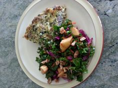 Crustless Quiche and Kale salad