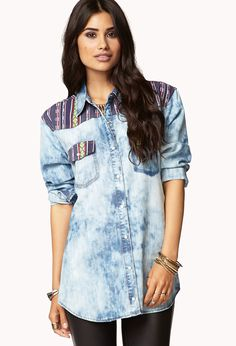 Southwest Bound Chambray Shirt | LOVE21