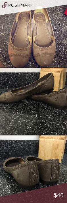 Leather flats Worn twice. GREAT condition. Frye Shoes Flats & Loafers