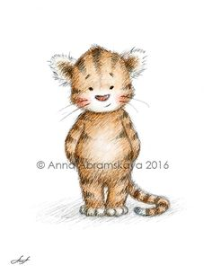 Nursery Animals Series. Baby Tiger. Also available for download at https://www.etsy.com/listing/467541918/tiger-printable-art-nursery-art-nursery?ref=listing-shop-header-2