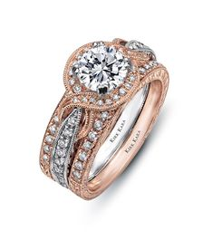 two tone pink diamond wedding ring