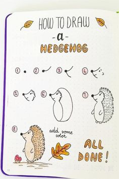 step by step Autumn doodles Stepbystep(hedgehog) Autumn doodles Stepbystep(hedgehog)ideas step by step Autumn doodles Stepbystep(hedgehog) Autumn doodles Stepbystep(hedgehog) Doodle Art For Beginners, Easy Doodle Art, Bullet Journal Writing, Bullet Journal Ideas Pages, Simple Doodles, Cute Doodles, Moon Drawing, Drawing Faces, Animal Doodles