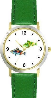 Two Colorful Coy Fish - WATCHBUDDY® DELUXE TWO-TONE THEME WATCH - Arabic Numbers - Green Leather Strap-Size-Children's Size-Small ( Boy's Size & Girl's Size ) WatchBuddy. $49.95. Save 38%!