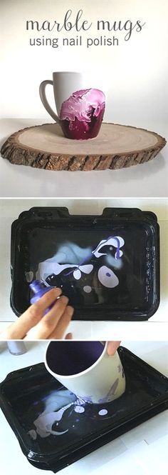 To make these gorgeous DIY Marble Mugs, all you need to do is pour nail polish into a container of warm water and dip your mug inside to create this cool design. It takes a little practice (and patien(Diy Art) Cute Crafts, Diy And Crafts, Crafts For Kids, Kids Diy, Decor Crafts, Creative Crafts, Diy Crafts Cheap, Hard Crafts, Creative Decor