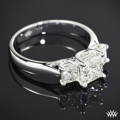 3 Stone Trellis Diamond Engagement Ring featuring 0.908ct A CUT ABOVE Princess