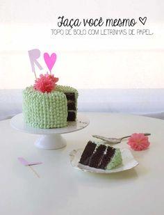 Faça você mesmo: Topo de bolo com letrinhas de papel http://www.blogdocasamento.com.br/topo-de-bolo-com-letras-de-papel/