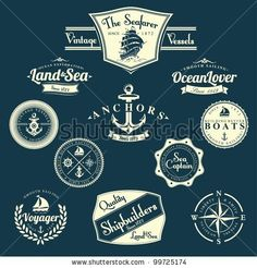 Find Set Vintage Retro Nautical Badges Labels stock images in HD and millions of other royalty-free stock photos, illustrations and vectors in the Shutterstock collection. Nautical Logo, Nautical Compass, Vintage Nautical, Nautical Theme, Vintage Boats, Retro Vintage, Compass Logo, Vintage Compass, Circular Logo