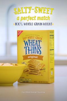 With a pop of salty and a touch of sweetness, WHEAT THINS is a delightfully delicious snack for your taste buds. Enjoy 100% Whole Grain Wheat, with 21g Whole Grain per 31g serving.