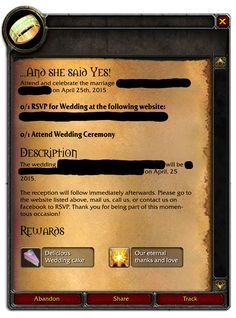 World of Warcraft Wedding Invitation