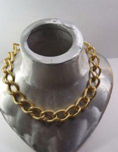 VINTAGE-TEXTURED-GOLD-TONE-MONET-CHAIN-NECKLACE-ESTATE