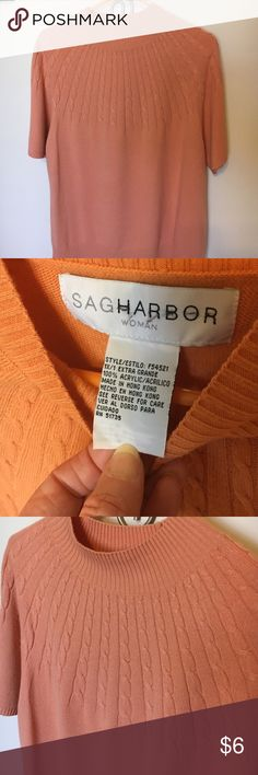 Sag Harbor woman orange sweater short sleeve 1X Sag Harbor woman. Pale orange sweater. 100% acrylic. Machine wash. 1X Sag Harbor Sweaters Crew & Scoop Necks