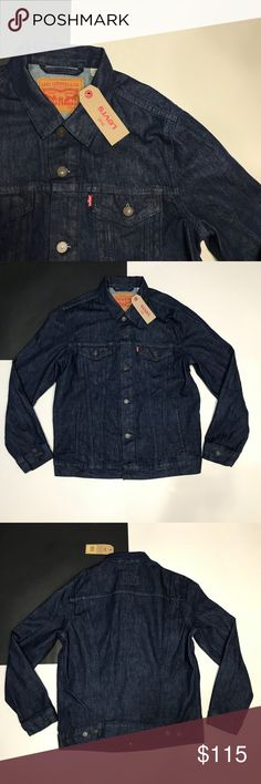 9995411418 Levi s Navy Blue Denim Jacket Levi s Navy Blue Denim Jacket • Great for  that oversized look