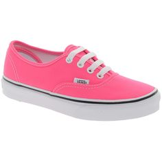 Vans Authentic Lace Up Neon Pink Trainers (730 ARS) ❤ liked on Polyvore featuring shoes, sneakers, vans, zapatos, flats, vans shoes, lace up flats, lace up shoes, lace up flat shoes and flat shoes