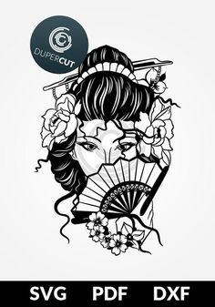 Geisha vector illustration, line drawing for machine cutting, hand cutting, screen printing, HTV transfer design. Silhouette Cameo, Paper Cutting Templates, Tinta China, Japanese Geisha, Cricut, Line Drawing, Cutting Files, Vinyl Decals, Screen Printing