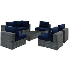Summon 7 Piece Outdoor Patio Sunbrella® Sectional Set Without Arms