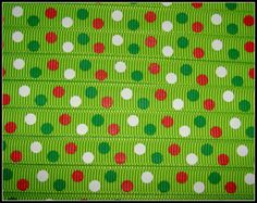 3/8 Christmas Polka Dots Printed Grosgrain by RibbonCollection, $3.00