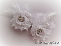Wedding Bridal Flower Shoe Clips  White Shabby by ShellsandBlooms, $18.00