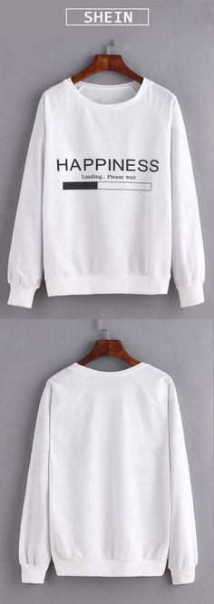 Shop Loose white sweatshirt for school.$12.99