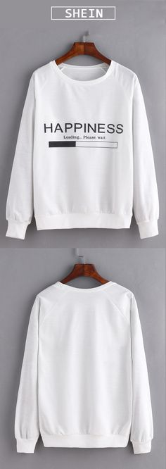 Shop Loose white sweatshirt for school.$12.99