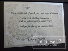 Silver lace wedding anniversary invitation