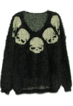 To find out about the Black Long Sleeve Skull Embroidery Mohair Sweater at SHEIN, part of our latest Sweaters ready to shop online today! Dark Fashion, Grunge Fashion, Gothic Fashion, Looks Style, Style Me, Mohair Sweater, Skull Sweater, Accesorios Casual, Angora