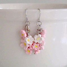 Cherry Blossom Earrings, Polymer Clay - by BeadsCraftz by EtsyForCharity on Etsy