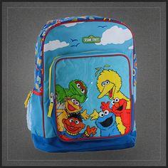 Sac à dos Elmo et ses amis de la rue Sésame pour l'école avec Cookie Monster Ernest Mordicus... Sac d'école pour enfant original sous licence Rue Sésame en vente sur Muku.