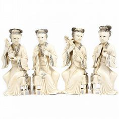 "Group of four Chinese carved ivory figures of women playing instruments includes a Liuyequin player, a Sheng player, a Xiao player, and a bell player. All are marked on bottom. 7"" H x 2 3/4"" W"