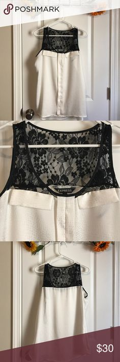 •Express Upper Lace Blouse• Great for work or play. Brand new and unworn. Absolutely no flaws. Lace detail is all on top. Not sheer at all. 100% polyester (except for lace). Express Tops Tank Tops
