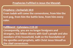 Prophecies fulfilled in Jesus the Messiah: Prophecy: Zechariah 10:4 Fulfillment: Ephesians 2:19-20