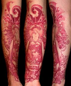 red ink sleeve #arm #tattoos